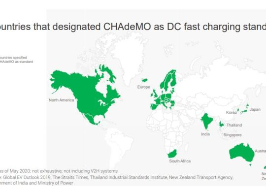 Countries designated CHAdeMO as DC fast charging standard